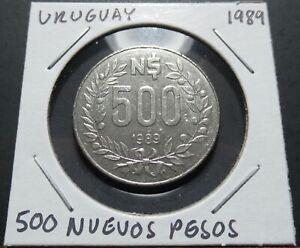 Uruguay 500 Nuevos Pesos 1989 Coin in 2x2 Flip A0319