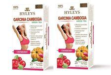 2 packs of Hyleys Green Tea Garcinia Cambogia CRANBERRY, 100% Natural 25 tea bag