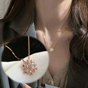 Fashion Luxury Rose Gold Snowflake Zircon Pendant Necklace Women Wedding Jewelry