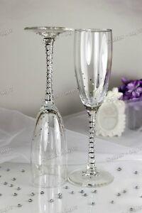 Swarovski Crystal Personalized Silver Wedding Champagne Toast Glass Flute Mr Mrs