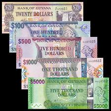 Guyana set 5 PCS, 20 100 500 1000 5000 Dollars, P-30 36 37 38 39, UNC