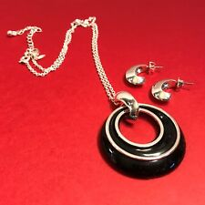 Avon JJH Mod Loose Circles Black Silver Chain Necklace Earrings Set W/Box NOS