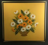 """Vintage Large CREWEL Floral Embroidery Approx. Framed Size: 18""""X17"""" 1970's MCM"""