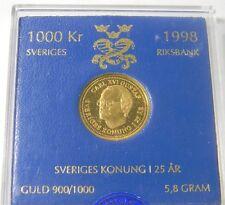 1998 GOLD SWEDEN 1000 KRONOR 25TH ANNIVERSARY KING CARL XVI GUSTAF MINT STATE