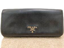 Prada Wallet Purse Logo Saffiano leather Black Woman Authentic Used T7753