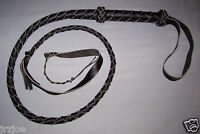 4 foot 4 plait BLACK LEATHER INDIANA JONES BULLWHIP (bull whip)