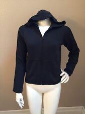 VINTAGE Adidas Women's Black Poly Hooded Workout Jacket w/ Black Stripes Sz M