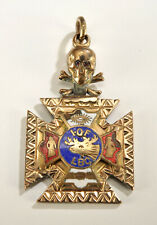 10K Gold Fill Masonic IOOF Odd Fellows Ruby Eyes Skull Crossbones & Eye Pendant