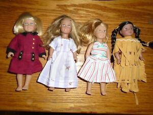 """4 American Girl Mini Dolls with Doll Clothes Kayla  6 1/2"""" Two have Hard Bodies"""