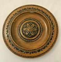 Vintage Hand Carved Brass Inlay Folk Art Wood Plate Wall Décor Made in Poland