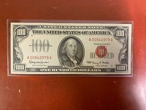 1966 $100 RED SEAL US Note -NICE AU/CU  ONE HUNDRED
