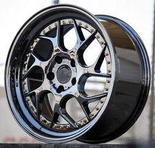 "18"" Aodhan DS01 18x8.5 5x100 +35 Black Vaccum Wheels For Dodge Neon SRT4 Rims"
