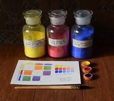Set of 3 PRIMARY COLOURS - Handmade Watercolour Paint (Historical Prop work)