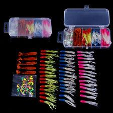 100pcs Fishing Lures Bait Fishing Gear Set 50pcs Soft Baits+50pcs Jig Head Hooks