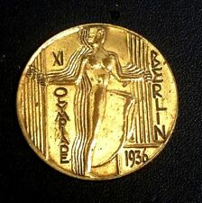 "Art Deco 1.5"" Brass? Participation Medal 1936 Olympic 11 Berlin Germany (Sb12 3)"