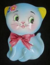 Vintage NORCREST Japan BLUE CAT KITTEN Ceramic Wall Pocket #CT-11
