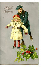 Boy Helps Young Girl Ice Skate-Skating-Christmas Holiday Greeting Postcard