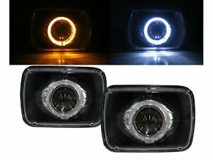 Syclone 91-92 Truck 2D Guide LED Angel-Eye Projector Headlight Black for GMC LH