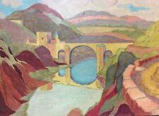 Huile sur isorel peinture fauve plateau et pont moyen-âge tawny