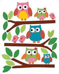 Colorful Owls Vinyl Decals Wallies Peel & Stick Appliques 12478