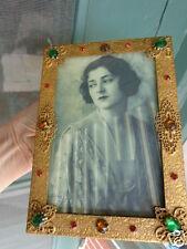 ANTIQUE CZECH JEWELED GOLD FILIGREE FLORAL EMBOSSED VANITY DRESSER PHOTO FRAME