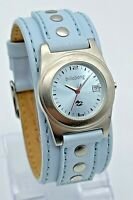 Ladies BILLABONG Rockettes Blue Leather Cuff Watch, Date, Silver Tone, BB1088