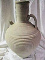 "RARE Decorative PRIMITIVE Handmade 15"" Tall Beige Clay Pot Water Pitcher Urn"