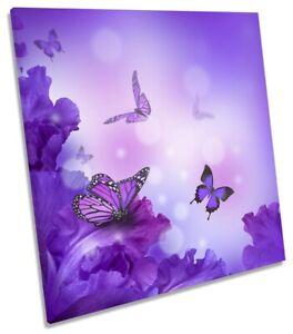 Butterflies Floral Flowers Print CANVAS WALL ART Square Picture Purple
