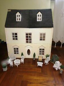 Casa Delle Bambole 3 Piani In Legno Arredata Stile Vintage Rustico Principesca