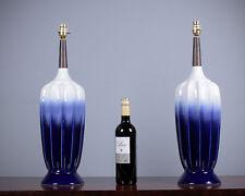 Pair of Vintage Blue & White Porcelain Table Lamps c.1960.