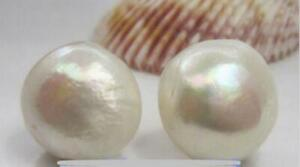 Huge AAAA 13-14MM NATURAL White south sea baroque PEARL EARRING 14k gold