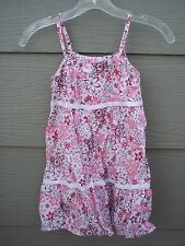 Esprit Girls Tiered Dress Sundress Sz 116 122 6 7 Pink Red White Floral