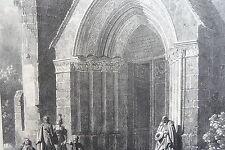 Portail église de ST HILDEBERT à GOURNAY LITHOGRAPHIE originale ENGELMANN 1822