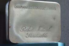 1930s Antique French Pill Box Paris Engraved Chrome Metal Medicine Nurse Doctor