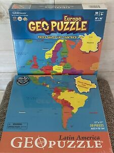 Geo Puzzle Lot Of 2- LATIN AMERICA + EUROPE Geography Map Jigsaw Toys New Sealed
