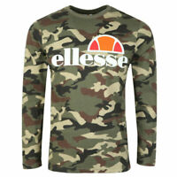 Ellesse Mens  T Shirt Long Sleeve Logo Green Army Camo Grazie RRP £35 New