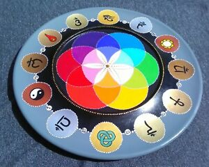 """14 inch (36cm) painted wooden """"Lazy Susan"""" - Chakra, Astrology and Symbol themes"""