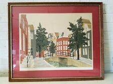 Vintage French Street View Scene Signed Lithograph with Blind Stamp