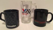 Vintage Lot of 3 Valvoline Racing & Castrol Motor Oil Coffee Mugs & Beer Glass