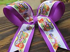 """Hair bow Large 5"""" grosgrain Cheer Shopkins Bow with purple grosgrain ribbon USA"""