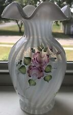 "Fenton Gorgeous Hand Painted French Opal Vase Pink Flowers Signed 8.5"" Tall"