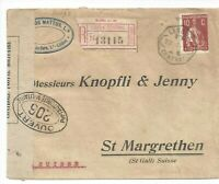 Portugal cover with CERES stamp 1916 Lisbon to St Margrethen St Gallen censored