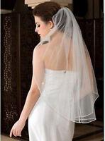 White ivory 1-Layer Elbow Length Rhinestone Edge Wedding Bridal Veil With Comb