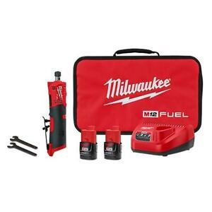 """Milwaukee 2486-22 M12 12V 1/4"""" Cordless Brushless Straight Die Grinder Kit"""