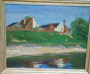 """Thiesen Jacob *1884 Rhöndorf Bad Honnef+1914 Argonnen """"Häuser am Rhein""""Ölgemälde"""