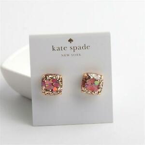 Kate Spade New York Gold Glitter w Heart Sequins Stud Earrings Multi