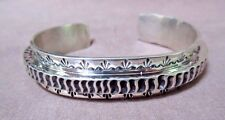 Native Navajo Heavy Hand Tooled Sterling Cuff Bracelet by Leroy James JB098