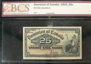 Dominion of Canada - 1900 - 25 Cents - DC-15c - Saunders - Graded by BCS