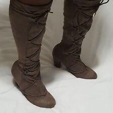 NEW FRH Sz 8 Boots PAULA TAUPE Womens Lace Up Block Heel KNEE HIGH Fahrenheit