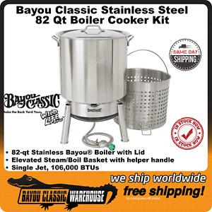 Bayou Classic 82 Qt Stainless Steel Boiler Cooker Kit Stockpot Lid Burner Basket